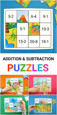 This colorful Addition and Subtraction to 20 Puzzles printable includes 6 different puzzles, that'll help your little learners to practice! Math For Kids, Fun Math, Maths Puzzles, Math Worksheets, Printable Activities For Kids, Math Help, Math Practices, Homeschool Math, Addition And Subtraction