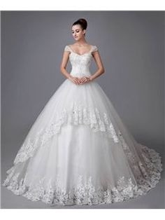 Gorgeous Ball Gown Sweetheart Straps Appliques Beading Chapel Wedding Dress Wedding Dresses 2014- ericdress.com 10958130