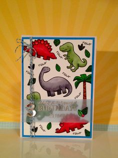 lawn fawn Dinosaur birthday card by www.paperalley.co.uk Boy Cards, Kids Cards, Cute Cards, Card Making For Kids, Making Ideas, Dinosaur Cards, Birthday Cards For Boys, Lawn Fawn Stamps, Paper Smooches