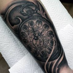 Mens Antique Pocket Watch Tattoo On Forearms