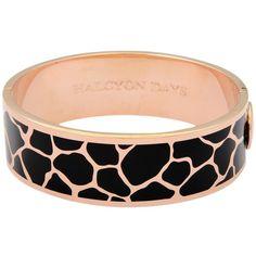 Halcyon Days Giraffe Bangle , Black/Rose Gold (€240) ❤ liked on Polyvore featuring jewelry, bracelets, rose gold cuff bracelet, cuff bracelet, cuff bangle, hinged cuff bracelet and black cuff bracelet