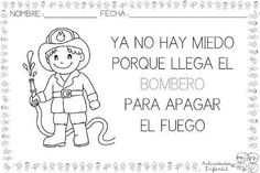 Poemas para trabajar las profesiones con los más pequeños Fire Safety Crafts, Communities Unit, Language Immersion, Fire Prevention, Dual Language, Community Helpers, Pre School, Spanish, Poems