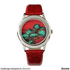 Landscape red green reloj de mano