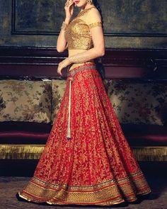 Red Flared Bridal Lehenga