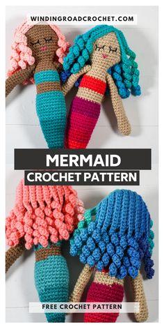 Crochet Doll Pattern, Crochet Toys Patterns, Crochet Dolls, Crochet For Kids, Free Crochet, Crochet Leg Warmers, Crochet Mermaid, Mermaid Dolls, Yarn Tail