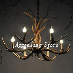 Europe Style 6 tête bougie pendentif lampe bois de lustre rétro Fixture  résine cerfs Horne Antler abat jour décoration plafond dans Lampes  Suspendues de ... e72c98e9a0eb