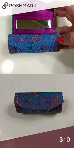 Lipstick holder with mirror Magnetic close, blue and purple brocade Makeup Brushes & Tools