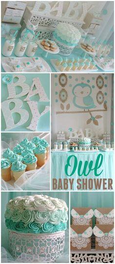 Owl mint baby shower
