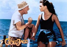 """Brooke Shields and Burgess Meredith in """"Wet Gold,"""" 1984."""