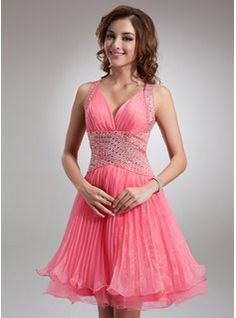 A-Line/Princess V-neck Knee-Length Organza Tulle Homecoming Dress With Ruffle Beading (022009630)