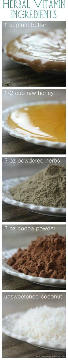 Herbal Vitamin Balls. Love this idea to sneak healthy supplements into children's diet!