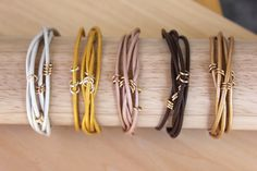 Wrap around thin leather bracelet, YOU PICK COLOR, 5 strand summer accessory, Arm Candy, leather jewelry