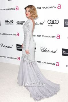 Miley Cyrus Grey Long-sleeve Formal Gown Oscar Party 2012 Red Carpet Dress