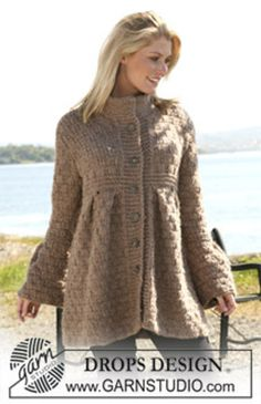 "Ravelry: 109-14 Jacket with pleats in textured pattern in ""Eskimo"" pattern by DROPS design- free pattern"