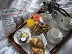 It is such a scene out of my dream....Breakfast in bed at The Cranley, in South Kensington in London.  Dreaming on!