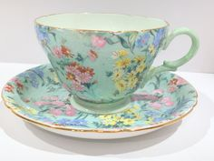 Shelley Tea Cup and Saucer, Henley Style, Melody Pattern, Chintz Tea Cups, English Bone China Cups, Tea Set, Vintage Tea Cups, Shelley China by AprilsLuxuries on Etsy