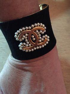 Black Suede Chanel Button Cuff