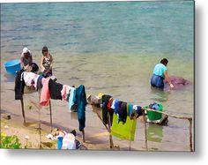 Laundry Day In Guatemala - Digital Paint Metal Print #lakeatitlan #guatemala #laundry