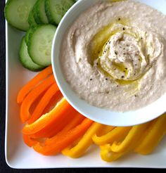 Simple White Bean Hummus... The great hummus, use it for almost anything from a dip for veggies and crackers/chips to a sandwich spread or as a binder for potato or chickpea salads (use in place of mayo type products). This recipe is full of options to keep it fresh and versatile!