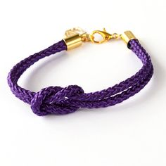 Purple Nautical Rope Bracelet with Gold Anchor - Skipper Bracelet - O My Heart!