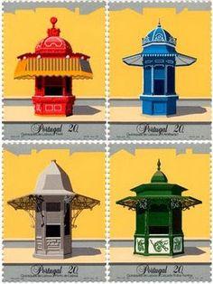 A stamp with our kioskes Acton Park, Architectural Materials, Portuguese Culture, Market Stalls, Vintage Posters, Vintage Art, Lisbon, Postage Stamps, Art Deco