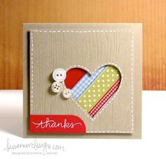 handmade card ...  kraft with wood grain embossing ... square format ... negative heart die cut ... strips of ribbon at a diagonal underneath ... clean and simple ... white gel pen faux stitching around the edge ... like it!!