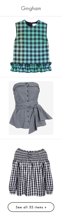 """""""Gingham"""" by dickensfan ❤ liked on Polyvore featuring tops, mint, mint green top, woven top, blue top, drapey top, boxy tops, shirts, gingham shirt and bustier tops"""