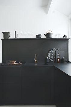 black kitchen Kitchen, ideas, diy, house, indoor, organization, home, design, cook, shelving, backsplash, oven, desk, decorating, bar, storage, table, interior, modern, life hack.