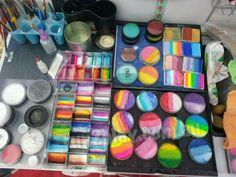 Pro face painters kit. Face painter's set up #facepaint #facepainting #facepaintschool