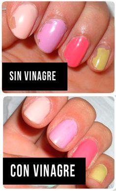 Limpia tus uñas con vinagre antes de aplicar la capa base