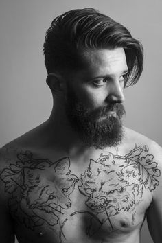 full thick dark beard and mustache beards bearded man men undercut hairstyle tattoos tattooed shirtless