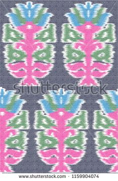 ikat and tribal pattern on fabric - buy this vector on Shutterstock & find other images. Ikat Pattern, Pattern Art, Textile Design, Aztec, Royalty Free Stock Photos, Textiles, Indian, Illustration, Fabric
