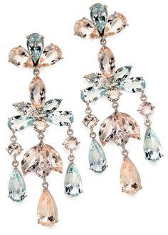 Graziela's 18K white gold, morganite and aquamarine earrings.