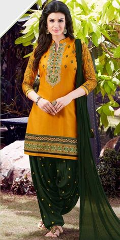 Pleasing Yellow And Green Cotton Patiala Suit.