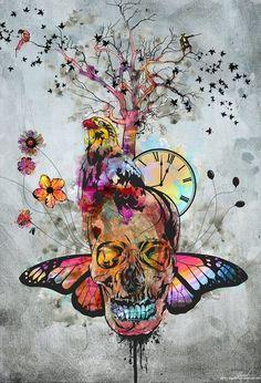 Skull art pretty colorful