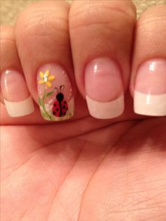 Standard French Manicure with ring finger accent lady bug sunflower floral flowe… Standard French Manicure with ring finger accent lady bug sunflower floral flower easy free hand nail art French Manicure Toes, French Pedicure Designs, Best Nail Art Designs, Nail Designs Spring, Manicure And Pedicure, French Manicures, Pedicure Ideas, Nail Ideas, Pedicures