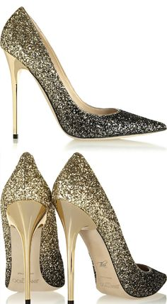 Jimmy Choo Glitter-finished leather pumps Sexy heels! Love sexy heels!