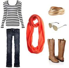 Stripes, scarves, boots and bangles