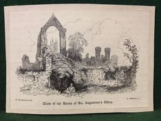 Antique Victorian Engraving View Of The Ruins Of St. Augustines Abbey Canterbury