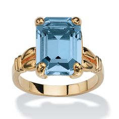 Emerald-Cut Birthstone Ring in 14k Gold-Plated at PalmBeach