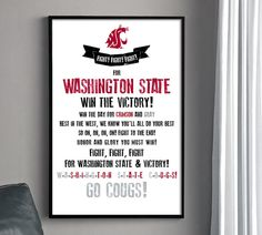 WSU COUGARS Fight Song Poster - Washington State University