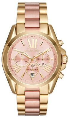 Menswear-inspired details like a sporty, oversized chronograph rose sunray  dial with gold accents, give the Michael Kors Bradshaw watch a bold look. 987ac8e2bf