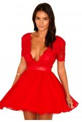 Aleena Lace Plunge Neck Puffball Dress In Red