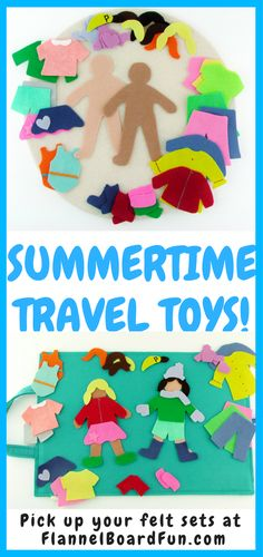 Need a summer travel toy for your toddler or preschooler?  These felt sets keep your little one occupied for hours on the go or at home!  Each one comes with a list of  suggested books, PLUS lyrics to rhymes and songs!  #flannelboardfun #toddlers #traveltoys #preschoolers #preschoolactivities #rainydayfun
