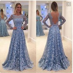Charming Lace Patchwork Backless Long Sleeve Long Party Wedding Dress