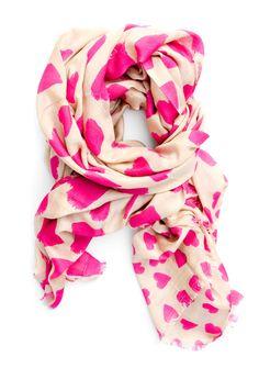 Whimsy Hearts Wool-Silk Scarf