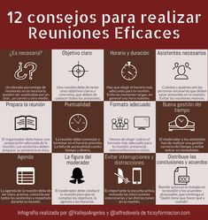 12 consejos para realizar Reuniones Eficaces #infografia #infographic #gestióndeltiempo #rrhh Infographics, Instagram, Ideas, Successful People, Study Hacks, Time Management, Personal Finance, Emotional Intelligence, Reunions