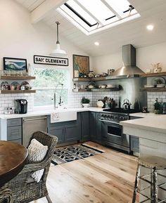 60 Interior Doors Ideas You'll Love - beach house decor Home Decor Kitchen, New Kitchen, Kitchen Design, Kitchen Sinks, Kitchen Ideas, Beach House Kitchens, Home Kitchens, Tele Sena, Up House