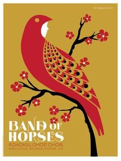 Original silkscreen concert poster for Band of Horses at The Boulder Theater in Boulder, CO in 18 x 24 inches. Signed and numbered out of only 200 by the artist Dan Stiles. Horse Posters, Band Posters, Cool Posters, Animal Posters, Illustration Photo, Illustrations, Graphic Design Illustration, Stiles, Art Of Dan