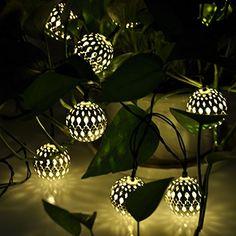 20x Moroccan Filigree Metal Globe Solar String Lanterns LED Lights Fairy Garden
